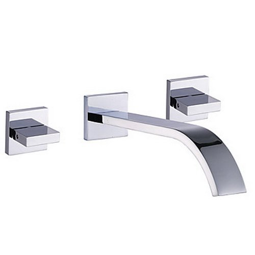 Greenspring wall mount two handles waterfall bathtub faucet spa spout chrome finished - Rubinetti a muro bagno ...