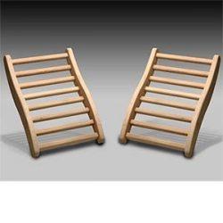 Dynamic Canadian Hemlock Sauna Backrest 2-pack 100% Natural Hemlock Wood Construction, S-Shape,  ...