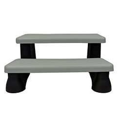 Premium Spa Hot Tub Step – Grey / Black- two tier – for round or straight sided spa