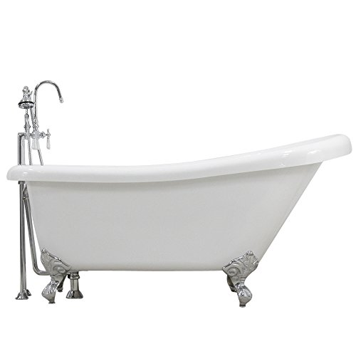 59″ Hotel Collection Single Slipper Clawfoot Bath Tub & Faucet Pack, Chrome Fixtures a ...