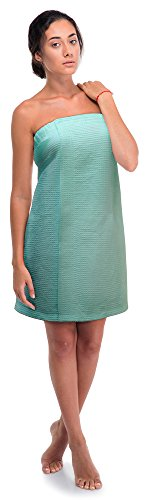 Women's Waffle Spa Body Wrap with Adjustable Velcro (One Size, Light Turquoise)
