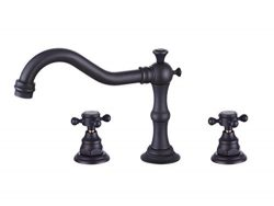 Greenspring Deck Mounted Three Holes Double Handles Widespread Roman Bathroom Sink Faucet 3pcs f ...
