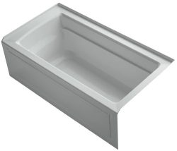 KOHLER K-1123-RA-95 Archer 5-Foot Bath with Comfort Depth Design, Integral Apron and Right-Hand  ...