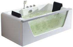 ALFI brand AM196HO Rectangular Whirlpool Bath Tub for Two with Fixtures and Ozone Disinfector, 6 ...