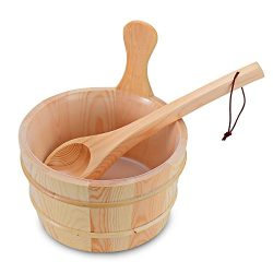 4L Wooden Sauna Bucket with Plastic Liner and Ladle – Handmade Sauna & SPA Accessory & ...