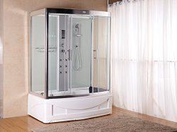 Luxury KBM 9001 Pure White Bathtub Faucet, Steam Shower Enclosure unit (60″ x 35″) w ...