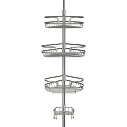 Richards Homewares Bathtub Shower Tension Corner Pole Caddy – Satin Nickle- Stylish Design with  ...