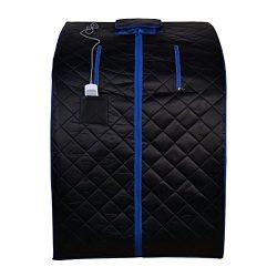 ALEKO PIN11BKBL Personal Folding Portable Home Infrared Sauna w/ Folding Chair and Foot Pad, Bla ...