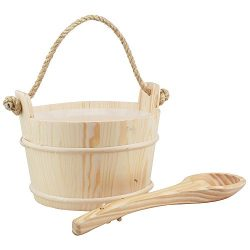 Handmade Sauna Wooden Bucket And Ladle With PE Plastic Liner AP-005W-01