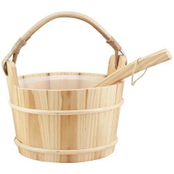 Sauna Accessory Handmade 6L Wooden Bucket and Ladle with plastic Liner For Sauna&SPA