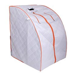 ALEKO PIN15SY Personal Folding Portable Home Infrared Sauna w/ Folding Chair and Foot Pad, Silve ...