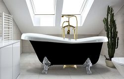 Freestanding Clawfoot Bathtub Acrylic Soaking Oval | Slipper Tub Mariah 60 x 30 x 28 (60″  ...