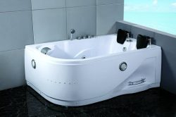 Two 2 Person Whirlpool Massage Hydrotherapy White Corner Bathtub Tub with BLUETOOTH UPGRADE, Rem ...