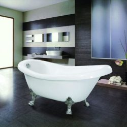 MAYKKE Gibson 67 Inches Traditional Oval Acrylic Clawfoot Tub, White Slipper Bathtub with Feet i ...