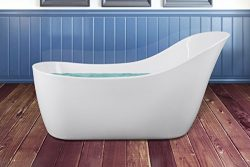 AKDY 68″ White Acrylic Finish Body Contemporary Oval Soaking Freestanding Bathtub w/ Overflow