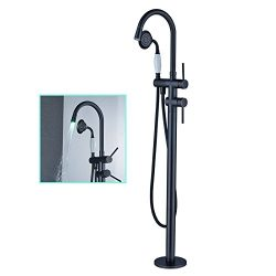 Zovajonia Oil Rubbed Bronze LED Light Bathroom Floor Mounted Tub Filler Shower Faucet Set Free S ...
