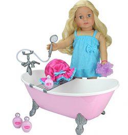 18 Inch Doll Bathtub with Shower, Pink Clawfoot Tub Made by Sophia's, Fits American Doll,  ...
