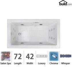 Jacuzzi ELA7242CRL4CW Elara 72″ Acrylic Air / Whirlpool Bathtub for Drop-In Inst, White /  ...
