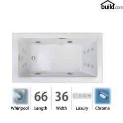 Jacuzzi ELA6636WRL4CH Elara 66″ Acrylic Whirlpool Bathtub for Drop-In Installati, White /  ...