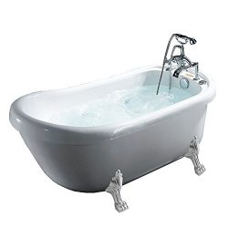 ARIEL BT-062 Freestanding Clawfoot Whirlpool Bathtub 67″ x 31.5″ x 30″ Inches