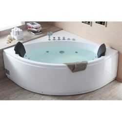 EAGO  AM200 5-Feet Rounded Modern Double Seat Corner Whirlpool Bath Tub with Fixtures