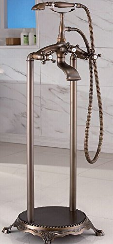 Antique Bronze Finish, Brass Body, Floor Standing Clawfoot Tub Bathtub Faucet with Shower Wand,  ...