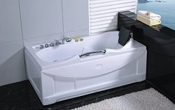 One 1 Person Whirlpool Massage Hydrotherapy White Bathtub Tub, Bluetooth Ready, with FREE Remote ...