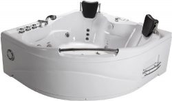 2 Person Bathtub White Corner Fitting Unit Jetted Whirlpool 11 Massage Jets Built-in Heater FM R ...