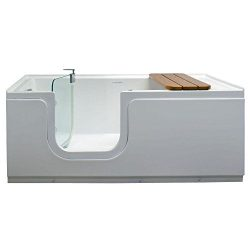 Freestanding Step-In Bathtub 5ft. with Waterproof Tempered Glass Tub Door and Bench in White Lef ...