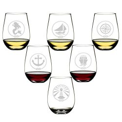 SET OF 6 -Stemless Wine Glasses-Nautical Themed, Resturant Quility Plastic, 14oz, Best Shatter P ...