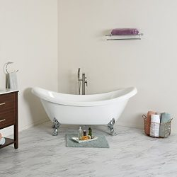 MAYKKE Mona 71 Inches Traditional Oval Acrylic Clawfoot Tub, White Double Slipper Bathtub with F ...