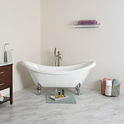 maykke mona 71 inches traditional oval acrylic clawfoot tub white double slipper bathtub with. Black Bedroom Furniture Sets. Home Design Ideas