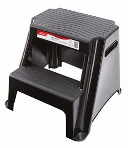 Rubbermaid RM-P2 2-Step Molded Plastic Stool with Non-Slip Step Treads, 300-Pound Capacity, Blac ...