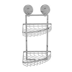 Everloc Solutions Chrome Suction Cup Two Tier Corner Basket For Shower