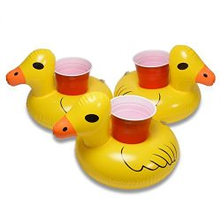 GoFloats Inflatable Duck Drink Holder (3 Pack), Float your drinks in style