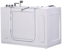 Aston WT622.1J-55-AC-L 55-Inch Walk-In Whirlpool Bath Tub with Side Panel, Left Drain in White