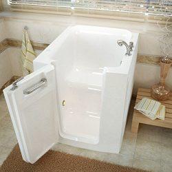 Meditub 3238lws 3238 Series Rectangular Soaking Walk-In Bathtub, 32 X 38, Offset Drain, White