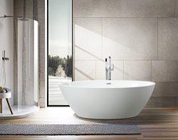 Vanity Art Bath Free Standing Acrylic Bathtub 68.9″Wx39.4″Dx22.8″H VA6834