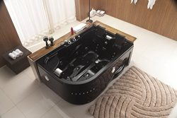 Two 2 Person Whirlpool Massage Hydrotherapy Black Corner Bathtub Tub with FREE Remote Control an ...