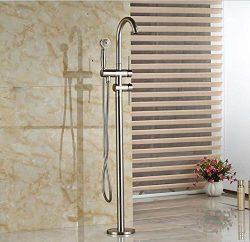 GOWE Brushed Nickel Free Standing Bathtub Mixer Faucet Dual Handles Bathroom Tub Faucet with Han ...