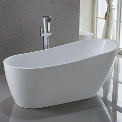 KIVA RHYME 59″ Freestanding Bathtub, 100% Pure Acrylic Soaking Bath Tub for Bathroom, cUPC ...