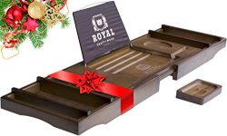 ROYAL CRAFT WOOD Luxury Bamboo Bathtub Caddy Tray, + FREE Soap Holder (BROWN)