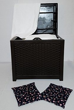 Hot Tub Towel And Robe Warmer/ Deck box with Microwavable Heat Pads