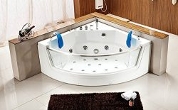 2 Person Bathtub White Corner Fitting Jetted Computerized Whirlpool 15 Massage Jets, Large 63 In ...