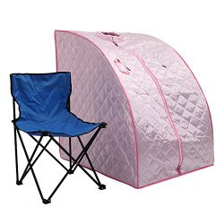 JAXPETY Portable 2L Steam Sauna Spa Full Body Slimming Loss Weight Detox Therapy w/Chair (Pink)