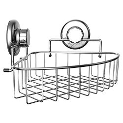 HASKO accessories – Corner Shower Caddy with Suction Cup – Stainless Steel Basket fo ...