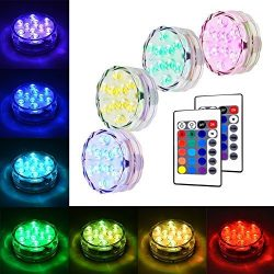 Litake Submersible LED Lights, RGB MultiColor Waterproof Remote Control Battery Powered Accent L ...