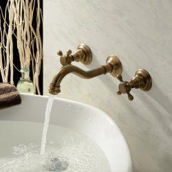 Lightinthebox Two Handle Wall Mount Antique Inspired Solid Brass Bathroom Sink Faucet Bathtub Mi ...