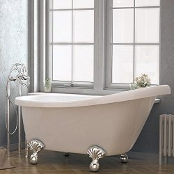 Luxury 60 inch Clawfoot Tub with Vintage Slipper Tub Design in White, includes Polished Chrome B ...
