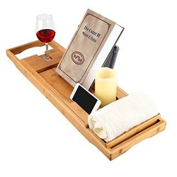 LANGRIA Bath Tray Bamboo Bathtub Caddy with Extending Sides, Mug Wineglass Smartphone Holder, Me ...